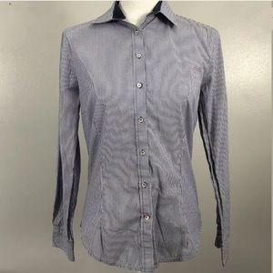 Zara Basic Size Large Striped Button Front Blue